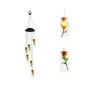 Droplight Karması Ve Maç Güneş Rüzgar Chime Işık Hummingbird Güneş Hediye Işık Renkli LED Bahçe Işık EEA393 Asma Welcome