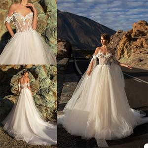 최신 아리 Villoso A 라인 웨딩 드레스의 연인 민소매 등이없는 웨딩 드레스 Appliqued 레이스 장식 조각은 기차 로브 드 Mariée 스윕