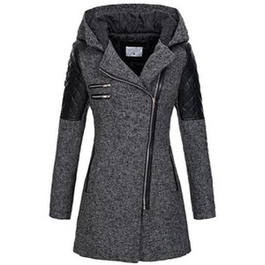 Kinikiss 2018 mujeres abrigo cremallera otoño negro hoodies patchwork manga larga cálido contraste color chaqueta invierno abrigos  chaquetas