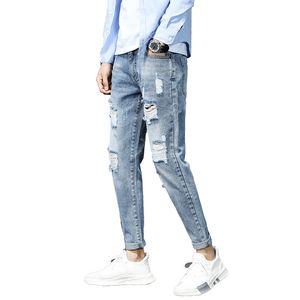 Nuovi jeans da uomo in cotone classico business casual jeans elasticizzati dritti blu denim maschile pantaloni skinny uomo h819