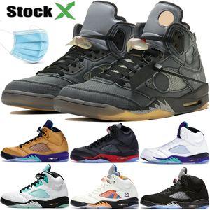 2020 Jumpman черный Муслин 5 5s мужская баскетбольная обувь свежий принц белый цементный атлас выведенный oreo PSG мода роскошный дизайнер мужские кроссовки