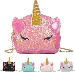 Unicorn Fashion Shoulder Purse Kids Cartoon Crossbody Chain Bag Baby Girls Fanny Pack Waist Cute Bags INS Coin DHL Wallet Glitter Pouch Mcpo
