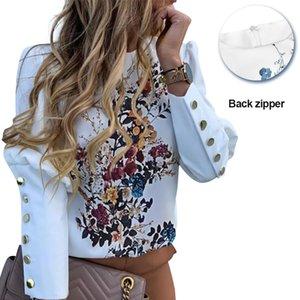 Impreso floral de la manga de soplo camisas Carta de las tapas del botón del metal Detalle manera ocasional Oficina señoras de la blusa de la blusa de la Mujer En D20 CX200617