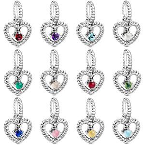 Valentine 925 Gümüş Takı Charms Birthstone kolye Ocak-Aralık Kalp Dangle Charm Fit Boncuk kolye bilezik DIY 798854