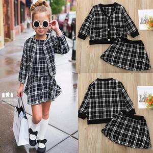 아기 여자 패션 카디건 코트 격자 무늬 의류 세트 자켓 + 짧은 드레스 키즈 우아한 부티크 봄 의류 정장 어린이 의상 M955