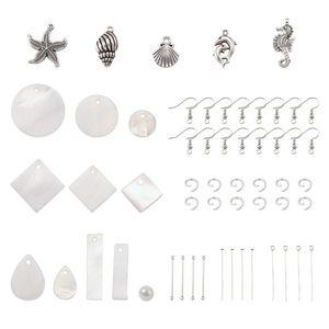 DIY Takı Küpe Yapımı İçin Seastar Shell Kolye Küpe Kancalar Cam İnci Boncuk Demir Pins ile Making 1 Set DIY Küpe