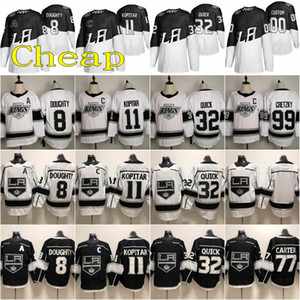 Costurada 2020 Stadium Series Los Angeles Kings Jersey 8 Drew Doughty 11 Anze Kopitar 32 Jonathan Quick Wayne Gretzky Hockey Branco Preto