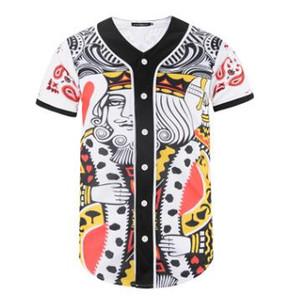 2020 vêtements d'été Hommes Baseball Maillots manches courtes cartes de jeu 3D joueur de base Fashion Jersey Baseball Shirt Tops Bouton