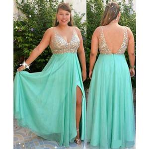 Luxo cristal Top Mint Green Plus tamanho ocasiões especiais Prom vestido de noite V pescoço Chiffon 2020 Empire Longo Red Capart Vestidos Formais baratos