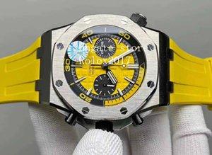 Luxo Mens Negócios Escalada Diver Chronograph Watch JF 26703 Melhor Edição 42 milímetros Dial amarelo em borracha azul Strap ETA 3126 Relógios de pulso