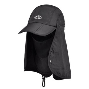 Wholesale Retail 2015 New Sports Sun Mesh with Mask String Flap Cap Hat for Men Women Hunting Fishing UV Protection Foldable T200605
