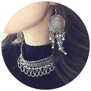 Kadınlar için Bohemian Vintage Gümüş Alaşım Küpe Uzun Big Drop Dangle Bildirimi Püskül Bell Hooks Küpe