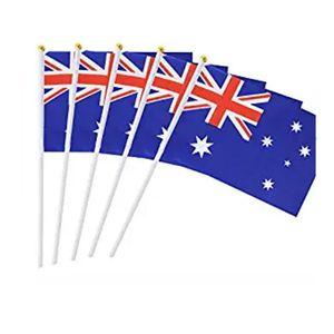 14x21cm 20x30cm Avustralya El Bayrak ile Plactic Pole El Dalgalanan Avustralya Ülke Milli Bayrakları Polyester Baskı
