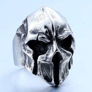 Herrenschmuck Einzigartige Punk Gothic Schädel Maske Edelstahl Cool Biker Vintage Ring - Silber Schwarz - By Mate Ringe