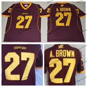 رجل وسط ميشيغان Chippewas أنطونيو براون كلية لكرة القدم الفانيلة رخيصة الأحمر 27 قمصان جامعة أنطونيو براون لكرة القدم M-XXXL