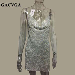 Gacvga 2019 Cristal De Métal En Métal Brillant D'été Robe Femmes Plage Robe Sequin Mini Sexy Robes De Soirée Robes Y190426