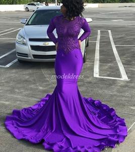 African Purple Mermaid Prom Dresses Gioiello manica lunga Sweep Train Appliques Abiti da sera lunghi formali Abiti per occasioni speciali 2019
