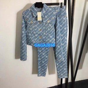 Her yerde yazmak motifi uzun kollu üst uç kadın kız seti kot ceketin bir ince kalem pantolon kot 2020 moda tasarımı iki parçalı takım başında