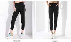 Tasarımcı Tozluklar Kadınlar Pantolon Günlük Siyah Pantolon Elastik Bel Kadınlar Harem Çizgili Pantalon Femme Pantalones Mujer Alta Kadın Garemay