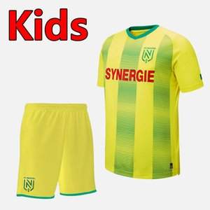 2019 2020 FC Nantes enfants kits sets Football Maillots 19 20 FC Nantes jeunes Sala Coulibaly Waris Rongier kits de football vêtements d'enfants Badminton