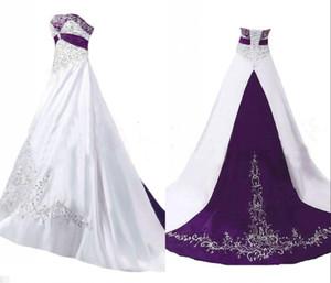 Уникальный фиолетовый и белый Вышивка линии Свадебные платья без бретелек корсет Назад атласная блестки бисером Bridal Свадебные платья Дешевые сшитое
