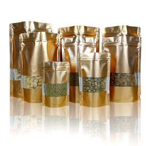 100PCS 16Silk d'oro in rilievo Finestra, autoportante chiusura tasche modello, Aluminium Foil Borsa, Food Packaging Bag