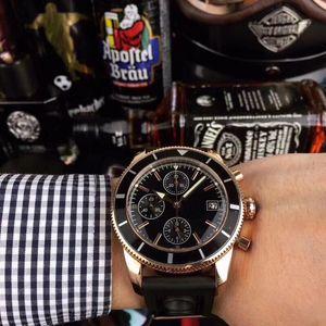 caijiamin-мужчины смотреть VK 64 хронограф Наручные часы из розового золота оболочки силиконовый ремешок 5 АТМ водонепроницаемый световой указатель Montre люксусный