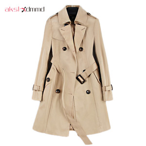 New Fashion Double Breasted Mid-long Trench Coat Women Khaki Slim Belt Cloak Mujer Windbreaker Female Abrigos Brazil LH810