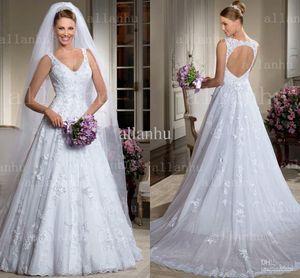 Weiße romantische backlose Brautkleider Brasilianischer Stil tauchend Blumen Applikation Arabische Spitze Brautkleider
