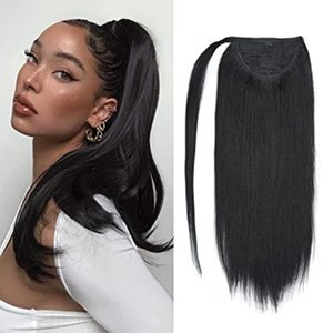 #1 Jet black Ponytail Extension Clip 100% Remy Human Hair Wrap Around Ponytail Long Straight Ponytail Hairpiece
