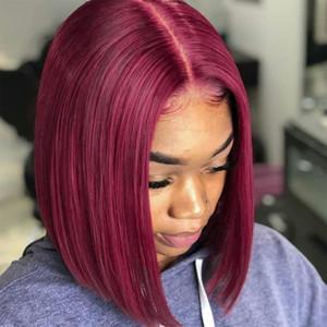 99j Rojo Borgoña 13 * 6 HD Transparente Frontal peluca corta sacudida del frente del cordón del pelo para las mujeres Negro brasileña color humano pelucas Remy