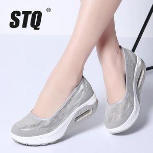 STQ 2019 femmes automne chaussures à semelles compensées plates femmes filet respirant chaussures espadrilles occasionnelles dames semelle épaisse glissement du talon sur les chaussures