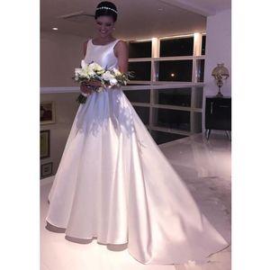 Vintage Satin Brautkleider Neue elegante A-Linie Schaufel-Ausschnitt öffnen Backless Hochzeit Dressess Maß Sweep Zug Brautkleid