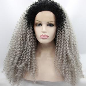 Ombre Afro Kinky parrucca sintetica grigio riccia sintetica pizzo Glueless bicolore naturale nero / argento grigio resistente al calore capelli parrucche delle donne