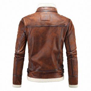 Homens Inverno Faux Leather Coat Jacket Cordeiro Wool Brasão Liner Leon Casacos Cashmere Resident Evil 4 Zipper Jaqueta de couro azul Jacketa Le KElX #