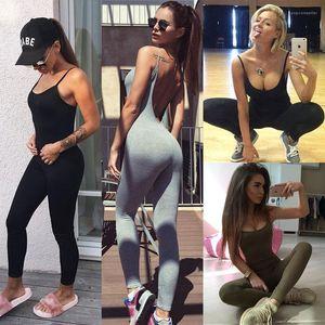 Mulheres roupa do verão Yoga Jumpsuits Backless magros gym macacãozinho cor sólida