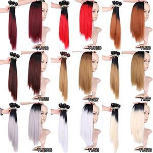 Haute Qualité 3Pcs / lot synthétique Bundles Cheveux raides Extensions cheveux Double Trames Ombre Hair Weave Roots foncé # 1B Brown Livraison gratuite