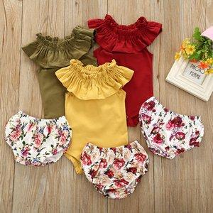 2020 новый детский комбинезон наряды новорожденных рябить O-образным вырезом без рукавов комбинезон + Роза цветочный принт шорты 2 шт. / компл. дети цветок одежда наборы M1749
