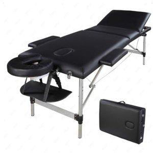 WACO Massage Bed, 3 Sections Portable, SPA Beauty Furniture, Folding Aluminum Tube, Adjustable Headrest, Facial Body Building Salon Table - Black