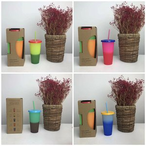 Creative Temperature Change Color Cups Colorful Cold Water Color Changing Coffee Cup Plastic Straws Mug T9I00374