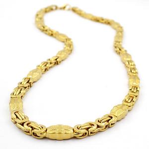Sunnerlees الأزياء والمجوهرات الفولاذ الصلب قلادة 6 ملليمتر 8 ملليمتر 11 ملليمتر الذهب مربع مربع الصليب البيزنطية ربط سلسلة للرجال إمرأة SC44 N