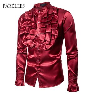 Vino rojo flor grande camisa de los hombres de seda satinado pétalo manga smoking vestido para hombre camisas de la fiesta de la cena de la boda Prom Camisa Hombre XXL