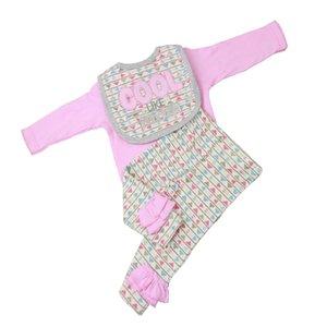 Triangles Romper Pants Set bavoir pour Tenues Baby Girl 22-23inch Reborn Doll