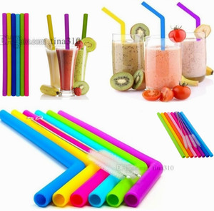 Silicone Drinking Straws Set Straws Fulnent Reusable Straws With 2pcs Cleaning Brusches 8pcs / set Silicone Straw 4688