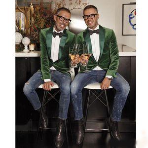 Мода Зеленый Бархат Куртка Мужчины Костюм Slim Fit Блейзер Пик Отворот Костюм Отделяет Одну Пуговицу Жених Одежда На Заказ Свадебные Смокинги