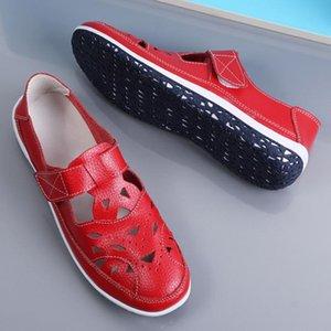 Las mujeres de Roma sandalias del cuero partido suaves zapatos de verano de fondo Mujer Casual Tamaño SH072301 sandalias planas del recorte de las señoras Sandalias Plus