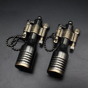Cosecha de metal encendedor de cigarrillos Accesorios Llama queroseno Encendedores retro llavero recargables para el regalo de los hombres