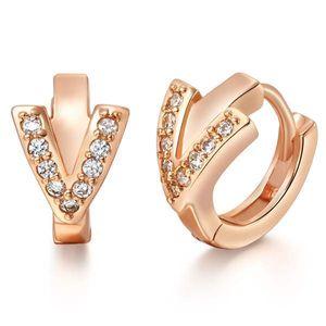 Moda alto Qualtiy oro / plata color Pendientes de aro pequeño elegante para la joyería de las mujeres circón de cobre redonda de la manera Mujer 10194