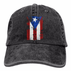 Puerto Rico Strong Denim Baseball Caps Erholung im Freien Bill Caps Womens Funny Washed Twill Unstructured Hats