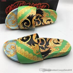 Para hombre de la impresión colorida zapatillas transpirable Confort Zapatillas Estilo diapositivas con suela de goma resistente sandalias del deslizador con el empaquetado de alta gama